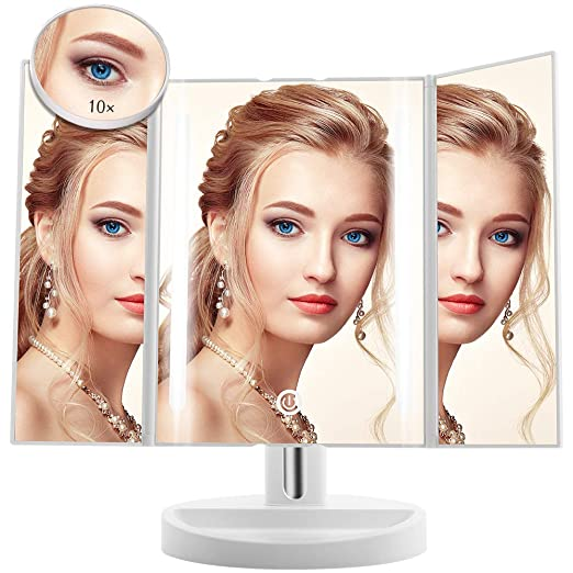 Led Lighted Makeup Mirror - Terresa Newest Vanity Mirror with Detachable 10X Magnifying Mirror, Portable and 180° Adjustable Stand Desk Trifold Travel Mirror with Lights