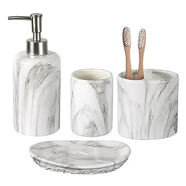 COOSA Ceramic Bathroom Accessories Set, 4 Pieces Bath Ensemble, Bath Set Collection Marble Pattern Soap Dispenser Pump, Toothbrush Holder, Tumbler, Soap Dish (Marble Design)