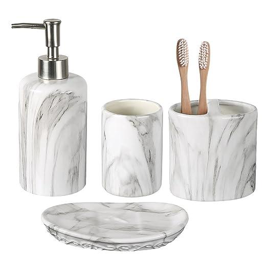 COOSA Ceramics Bathroom Accessories Set 4 Piece Bath Ensemble Collection Marble Pattern