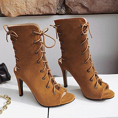 COOLCEPT Damen Mode Gladiator Schnurung Sandaletten Brown