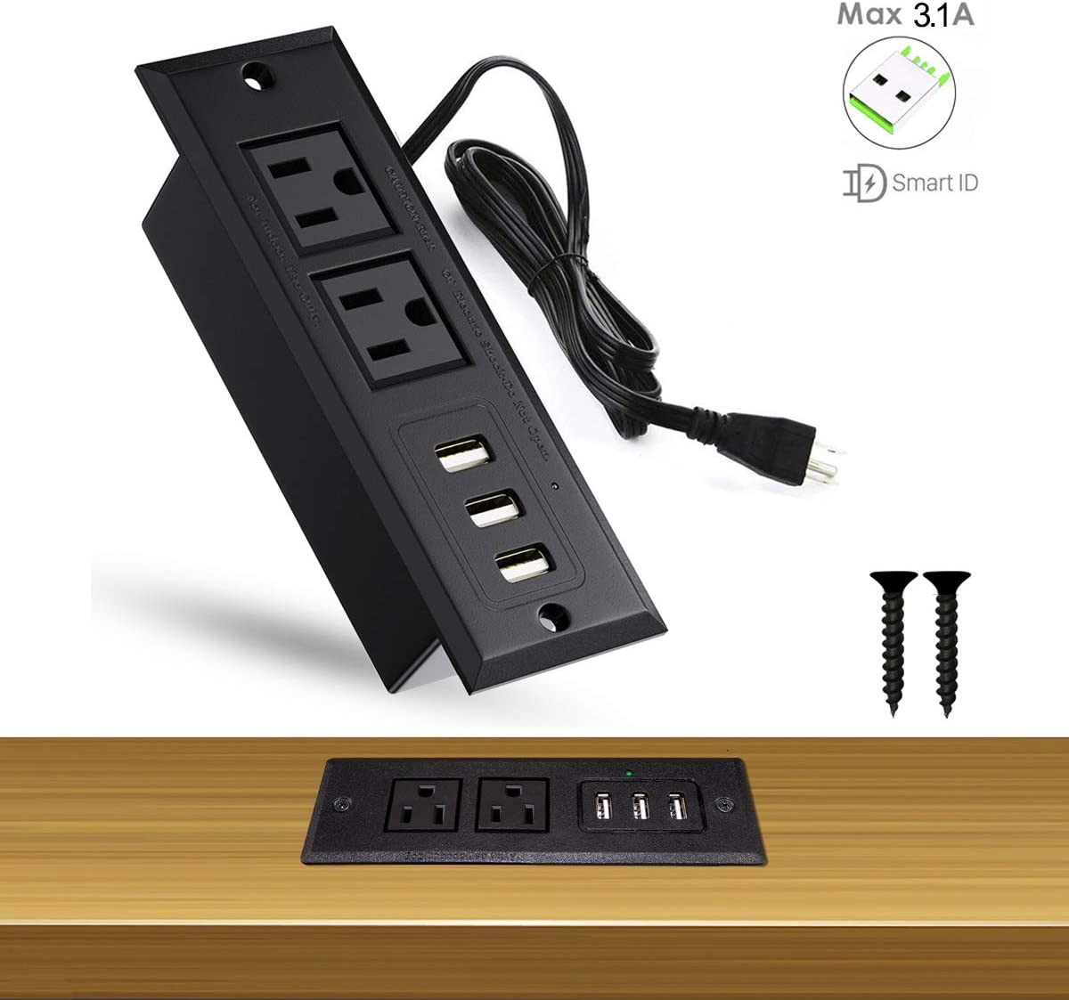 Conference Recessed Power Strip Socket W USB Ports Table Desktop Charging Statio