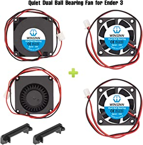 WINSINN 24V 40mm Fan Blower for Cooling Ender 3 / Pro Turbine Turbo 40x10mm 4010 DC Brushless Dual Ball Bearing, with Air Guide Parts - Quiet (Pack of 4Pcs)