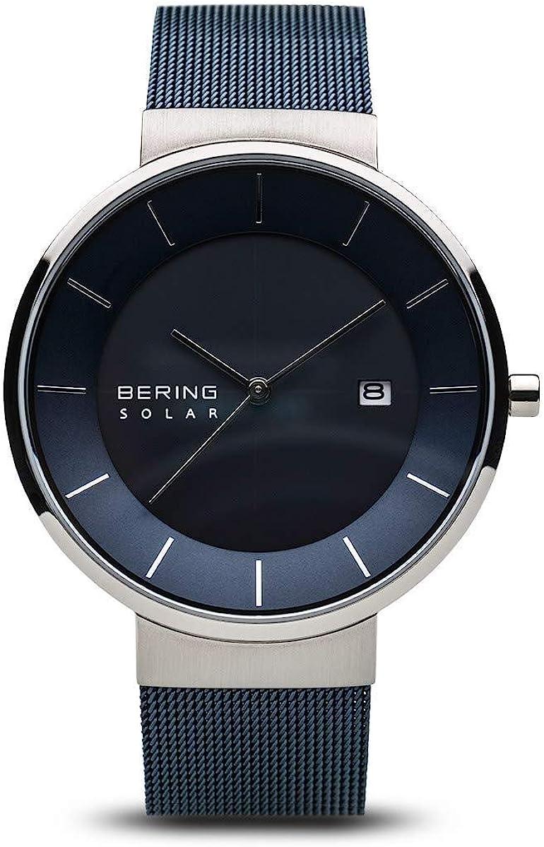 BERING Reloj Analógico para Hombre de Energía Solar con Correa en Acero Inoxidable 14639-307