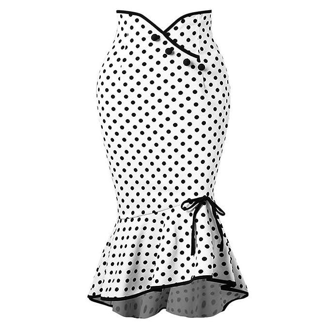 ced97e60c FAMILIZO Faldas Largas Y Elegantes Faldas Cortas Mujer Verano Faldas Mujer  Invierno Primavera Vestidos Mujeres Moda Dot Lazos Trompeta Sirena Apretado  ...