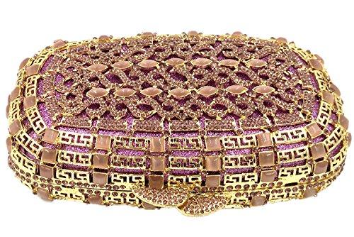 Bourse Clutch à soiree Bandouliere Bal pour purple Pochette Sac Femme Mariage Sac Chaîne Main Fête Maquillage PwOAFqPx4