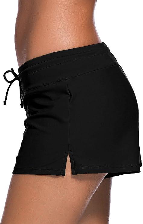 Tmaza Shorts de Baño Mujer Bañador Short Deportes Acuáticos Shorts de Natación Secado Rápido