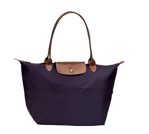 Amazon Com Longchamp Le Pliage Large Shoulder Tote Bag Bilberry