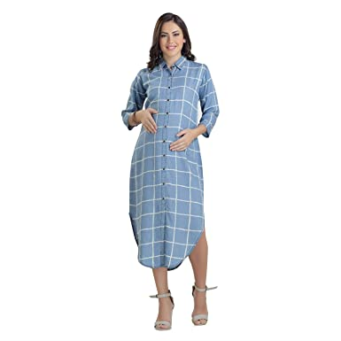 13b69369d84a0 HOUSE OF NAPIUS Maternity Denim Checks Dress Small: Amazon.in: Clothing &  Accessories