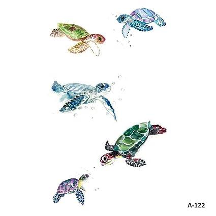 WYUEN 5 hojas coloridas tortuga niños cuerpo arte ballena tatuaje ...