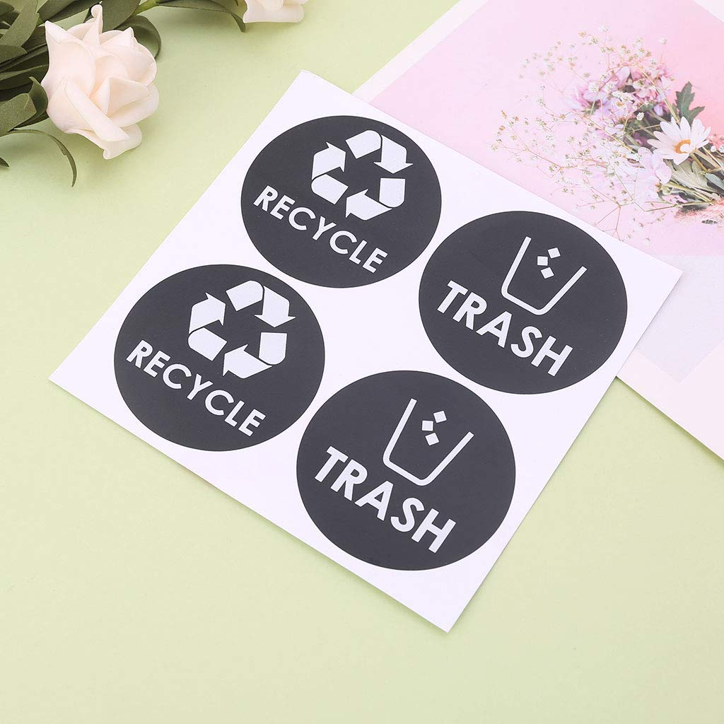 Because0f Recycle Trash Symbol Vinyl Lettering Decals Sticker for Trash Cans Garbage Container