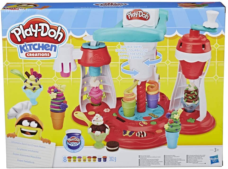 Play-Doh Kitchen Creations Ultimate Swirl Ice Cream Maker Play Food Set with 8 Non-Toxic Colours