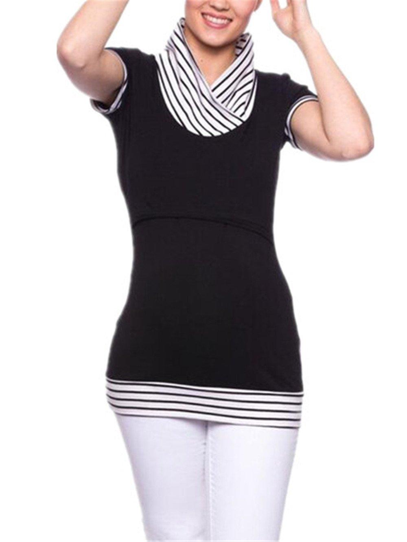 BESTHOO Premaman Top L'Allattamento Donna Top Manica Corta Maglietta Patchwork Strisce T-shirt Doppi Strati Bluse Morbidi Comoda Top
