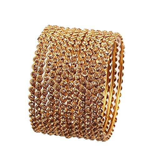 12 Bangle Set - Touchstone New Golden Bangle Collection Indian Bollywood Stunning Clear Rhinestone Embellished Thin Charming Look Designer Jewelry Bangle Bracelets Set of 12 in Antique Gold Tone for Women.