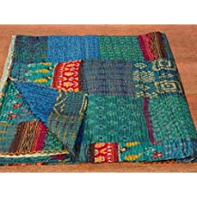 "Patola Silk Patch Work Kantha Quilt , Kantha Blanket Bedspread, Patch Kantha Throw, King Kantha, Kantha Rallies Indian Sari Quilt, Size 90"" X 108"" 001"