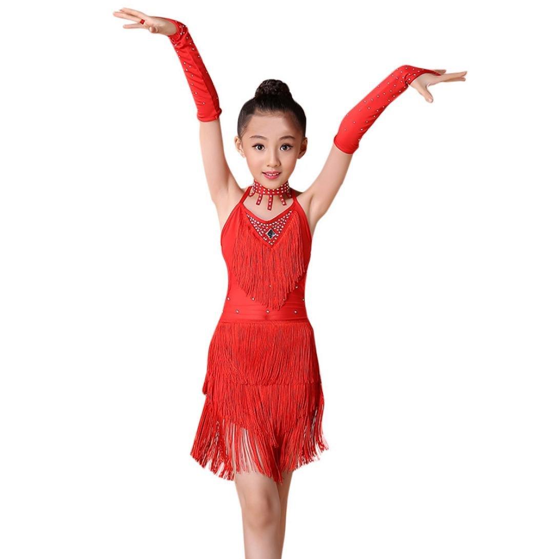 Cyond 2-13 Years Old Baby Girls Dress New Fashion Toddler Kids Girls Latin Ballet Asymmetrical Mini Tassel Dress Party Dancewear Ballroom Dance Sleeveless Costumes