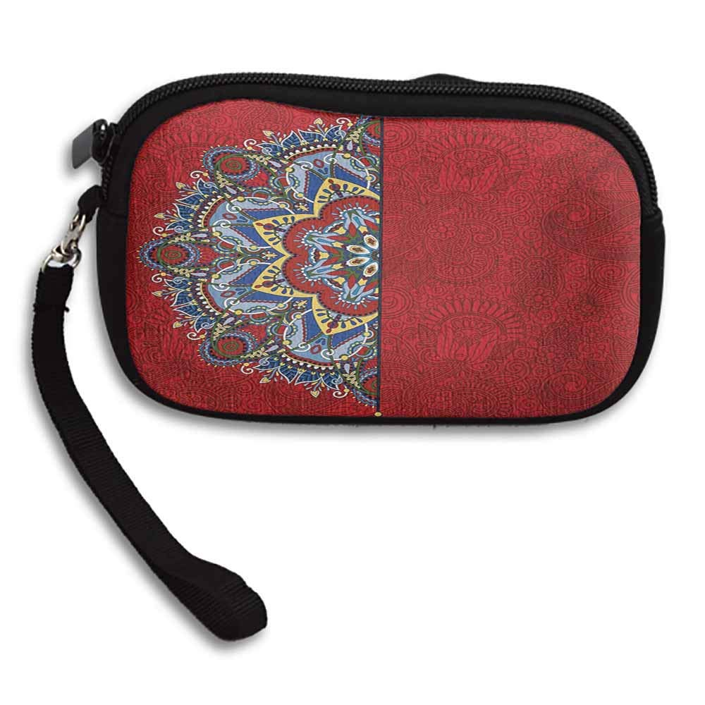 Red Mandala Womens Purse Ukranian Ethnic Design Half Mandala with Swirls and Flowers Image W 5.9x L 3.7 Zipper Coin Pocket Wallet Card Holder