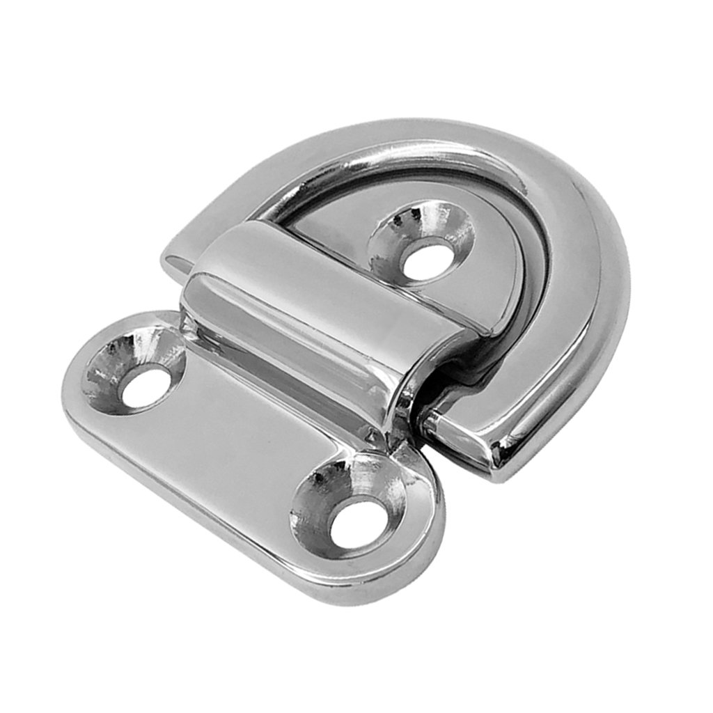 MagiDeal Heavy Duty 316 Stainless Steel Folding Pad Eye Deck Lashing Ring Staple Cleat Anchor Point for Trailer Boat RV Yacht Rope