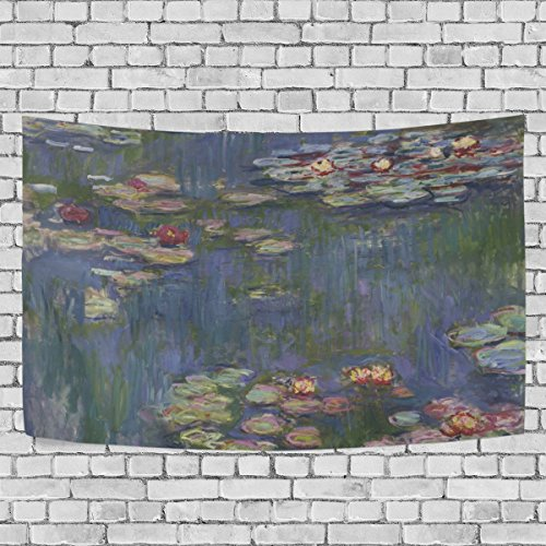 Tapestry Water Lilies by Claude Monet Oil Paintings Flowers Wall Hanging Art Home Decor Polyester Tapestry for Living Room Bedroom Bathroom Kitchen Dorm 80 x 60 Inches