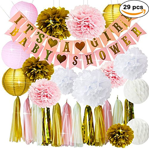 Baby Shower Decorations for Girl - IT´S A GIRL & BABY SHOWER BANNER, Garland Tassel Banner Tissue Paper Flower Pom Poms Paper Honeycomb Balls Paper Lanterns Pink/White/Gold/Cream Party Decor + 5 GAMES