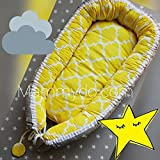 Babynest, baby nest, baby cocoon, baby nest bed, sleeping nest, grey and yellow print baby, baby shower gift, sleeping bed, new baby gift