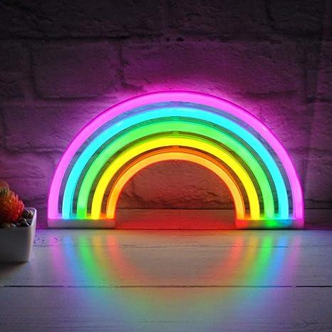 Lampada Da Parete A Led A Forma Di Arcobaleno Effetto Luce Al Neon Per Camera Dei Bambini Amazon It Illuminazione