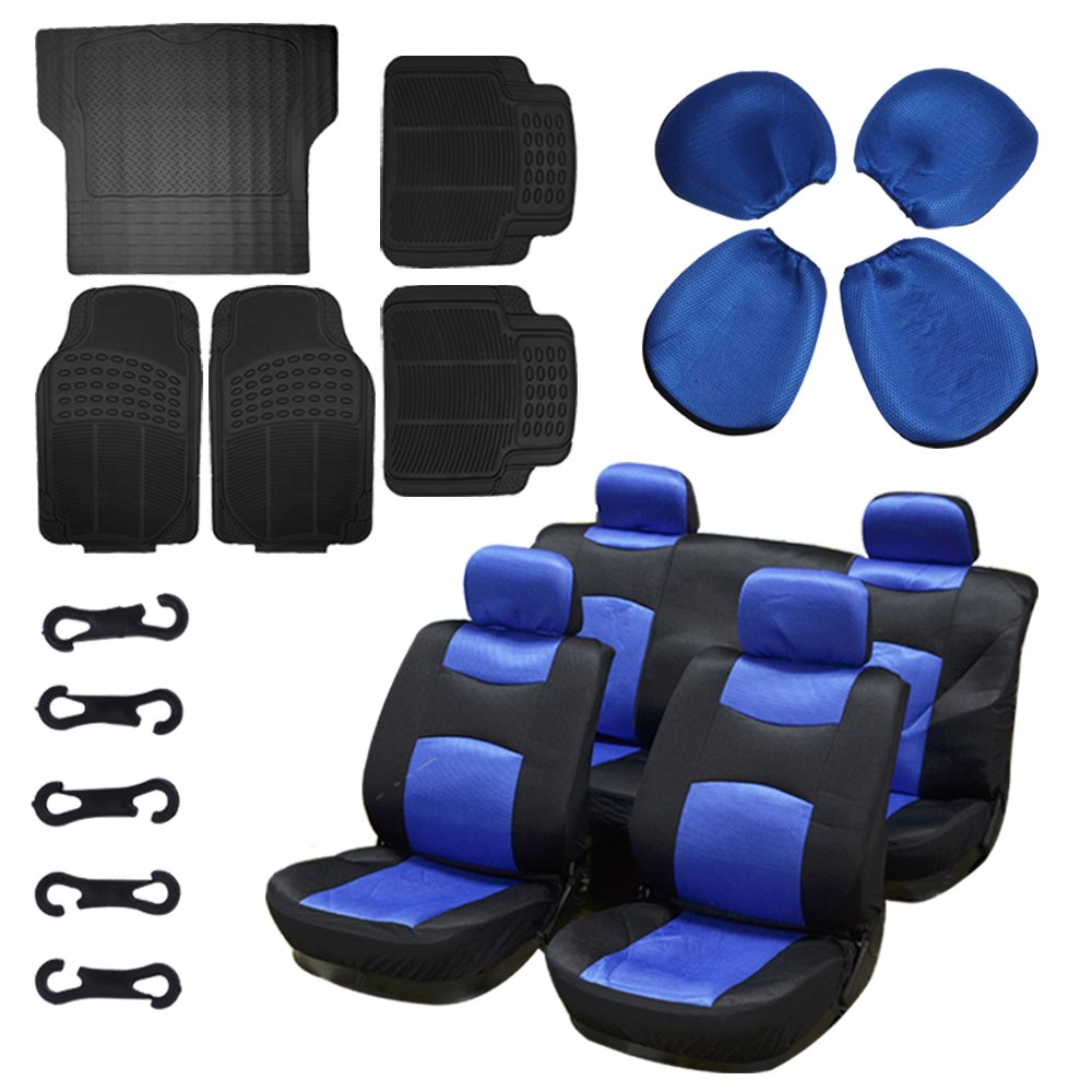 Scitoo 13-PCS Car Floor Mats W/Trunk Liner Black/Blue Mesh Car Seat Covers for Heavy Duty Vans Trucks