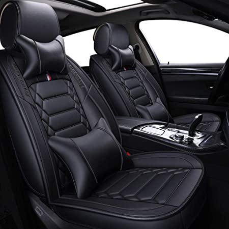 Jdwbt Sitzbezüge Leder Vorne Und Hinten 5 Sitziges Set Universal Leder Seasons Protectors Pad Kompatibler Airbag Mit Kissen Farbe Schwarz Auto