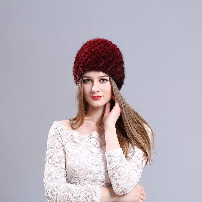 Sombrero de piel de visón Mujer Invierno Mullido Gorro de punto Cálido  Esquí Sombreros de piña 0d4193e6bf6