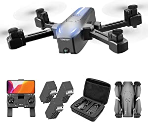 GPS Drone with 4K HD Camera FPV Quadcopter Drones for Adults with Auto Return Home, Follow Me, Long Flight Time, Headless Mode, Dual Cam, GPS RC Quadcopter for Beginners (3 Batteries and Storage Bag)