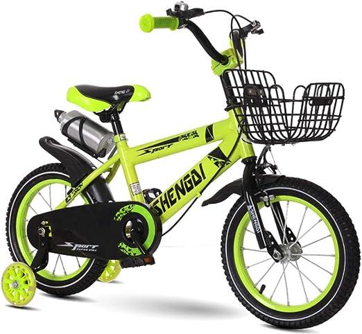 YWZQ Bicicleta para niños, Bicicletas para niños y niñas Asientos portátiles neumáticos Antideslizantes Resistentes Frenos Dobles Seguros y sensibles, Regalos de Juguetes para niños,Verde,18: Amazon.es: Hogar