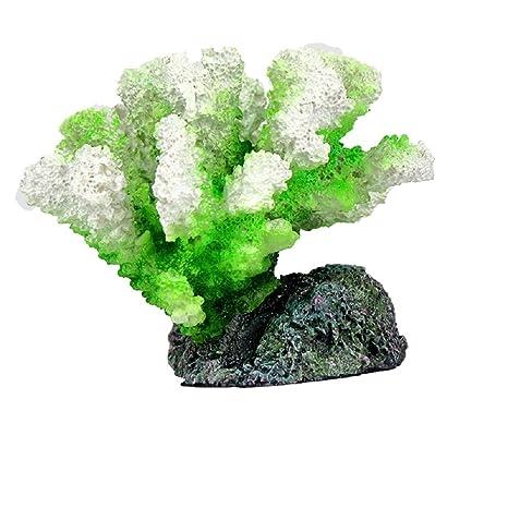 JUZIPI Decoración para Acuario con Acuario, Diseño de pecera, Color Blanco y Verde,