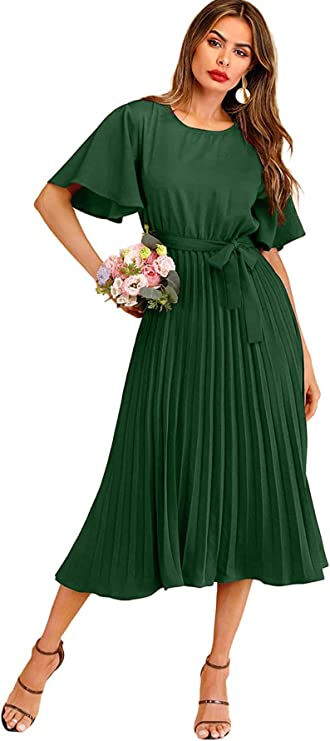 70s Clothes | Hippie Clothes & Outfits Milumia Womens Elegant Belted Pleated Flounce Sleeve Long Dress $41.99 AT vintagedancer.com