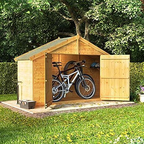 3 x 8 la lengua y Groove de madera Apex bicicleta almacenamiento doble puerta techo fieltro tienda cobertizo: Amazon.es: Jardín