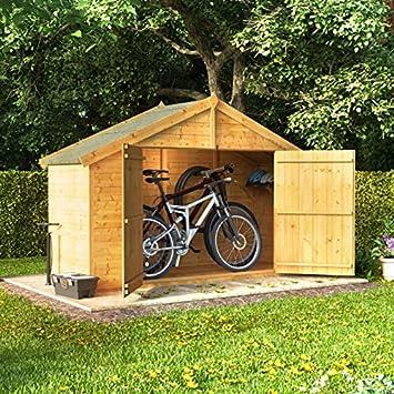 billyoh 3x8 tongue and groove wooden apex bike storage double door