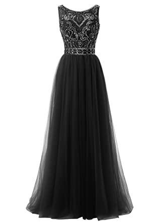 Callmelady High Neck Tulle Long Prom Dresses For Women Evening Party (Black, UK4)