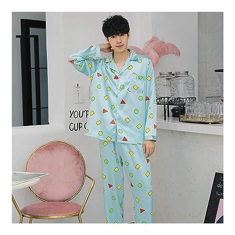 80dbd1cb03 HAOLIEQUAN Otoño Invierno Amantes De Manga Larga Pijamas Hombres Y Mujeres  Ropa De Noche Seda De