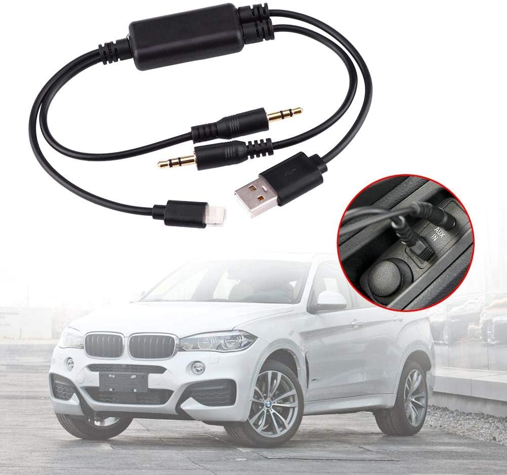 Car USB Cable 3.5mm Jack AUX Adapter Interface USB + AUX Cable Compatible with BMW Mini Cooper Core for iPod Fast Data Transfer 13.77inch Length Black