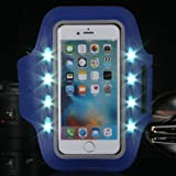 """LED Sport Armband Handytasche von Outry für iphone 7 (4,7"""") und andere anpassbare smartphones mit LED-Beleuchtung und Schlüsselhalter für Laufen, Radfahren usw."""