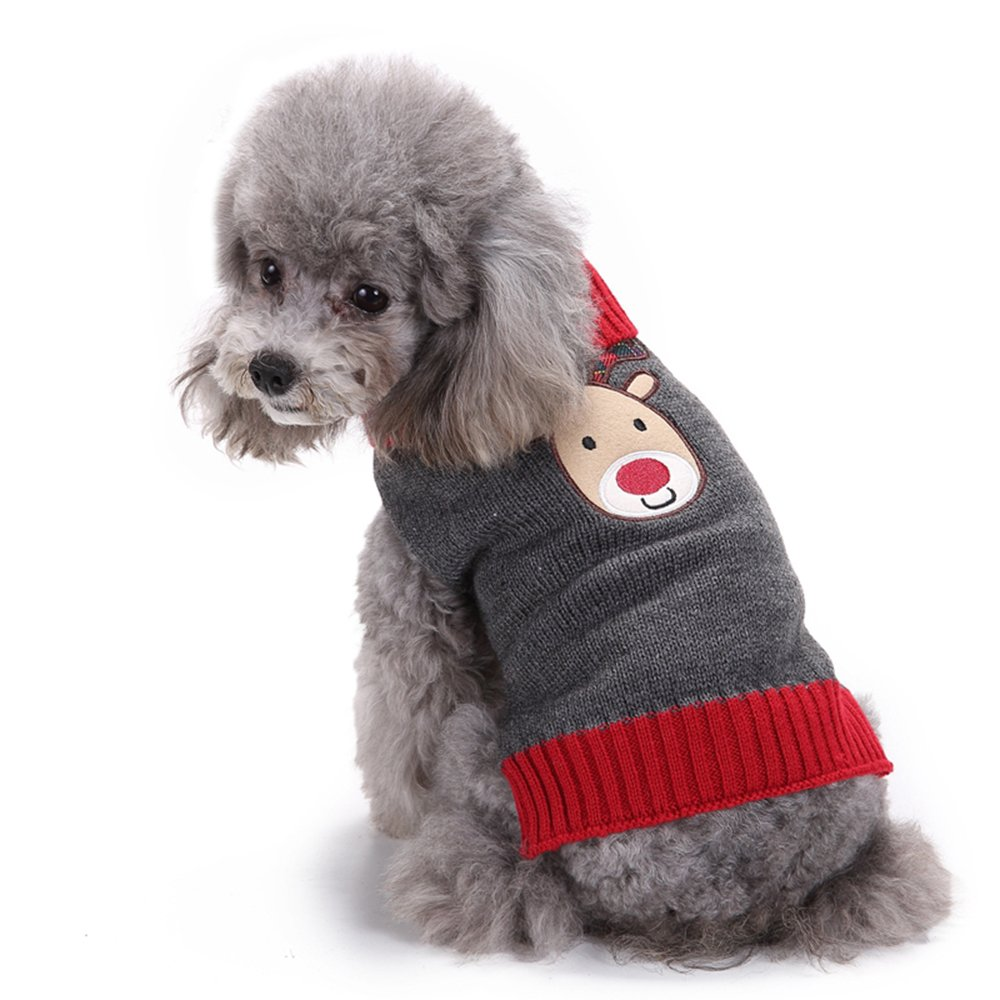M ANIAC Pet Dog Cute Christmas Cartoon Reindeer Costume Winter Sweater Clothes (M)