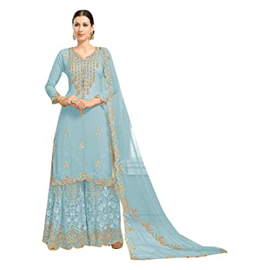 32dda2a11a Amazon.com: Bollywood Evening Party wear Eid Georgette Heavy Embroidery  Designer Sharara suit for Women Muslim dress 7594: Clothing