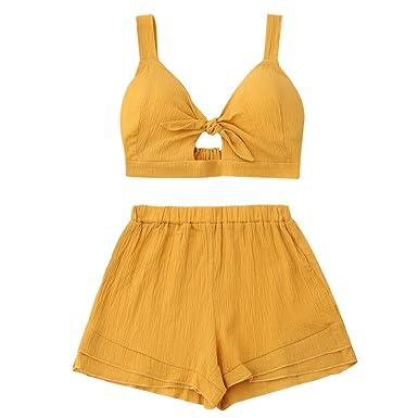 6b366b02b3 Amazon.com  ZAFUL Women Bikini Set Cut Out Crop Top with Shorts Tankini Rib  Knotted Swimsuit Holiday Wear  Clothing