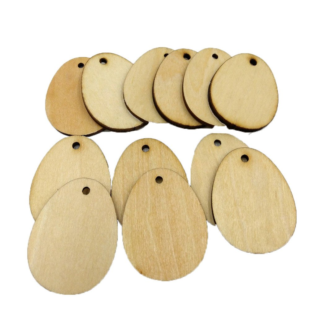 iLOOSKR Home Decor 100Pcs Wooden Easter Eggs Wood Craft for Easter Decorations Tag