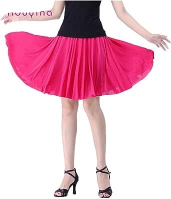 YoYoiei Women's Plus Size Retro High Waisted Pleated Salsa Dance Skirt w/Shorts