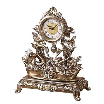 GCCI Reloj de mesa Reloj de cisne de estilo europeo Reloj de ...
