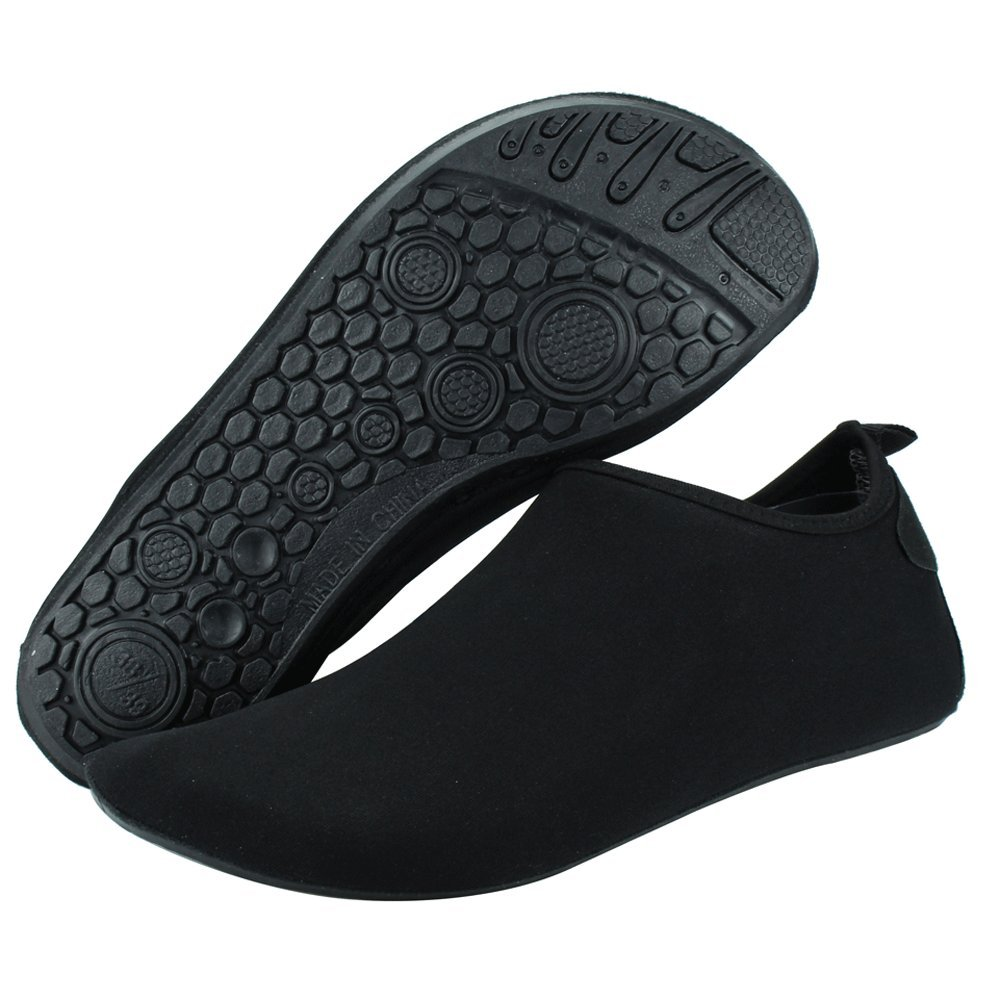 SENFI Water Shoes Unisex Barefoot Outdoor Athletic Aqua Shoes for Beach Pool Surf Exercise (Men/Women),NT01,Black,40.41