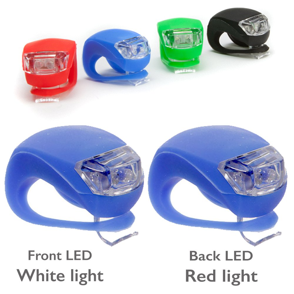 Bike Lights - Front & Rear LED bike light set (twin pack) and super bright Headlights. Easy clip on, water resistant & three flash modes. Available in 5 colours. The Little Bodhi 67002