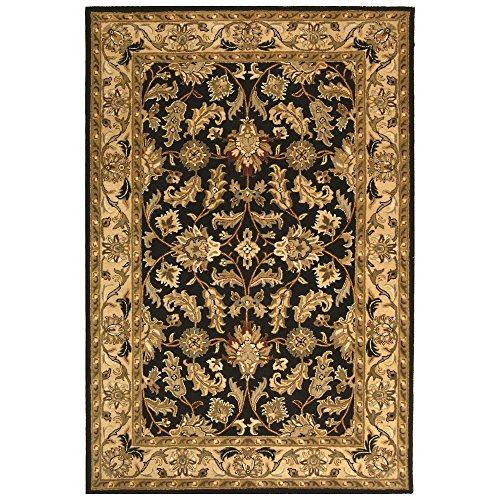 Safavieh Heritage Collection HG628B Handcrafted Traditional Oriental Black and Beige Wool Area Rug (6' x (Beige Persian Wool Rug)