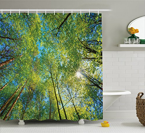 Real Old Willow - Ambesonne Forest Home Decor Shower Curtain, Evergreen Back Nature Area Mother Earth Lime Trunk Mangrove Flora Willow Decor, Fabric Bathroom Decor Set with Hooks, 75 inches Long, Green