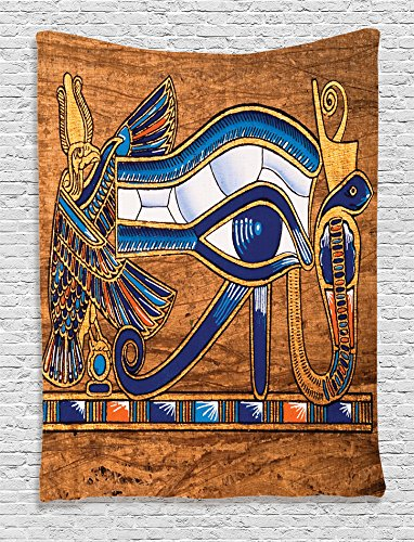 (Egyptian Tapestry by Ambesonne, Egyptian Ancient Art Papyrus Depicting Eye Mosaic Style Design, Wall Hanging for Bedroom Living Room Dorm, 60 W X 80 Inches, Navy Blue Orange and Brown)