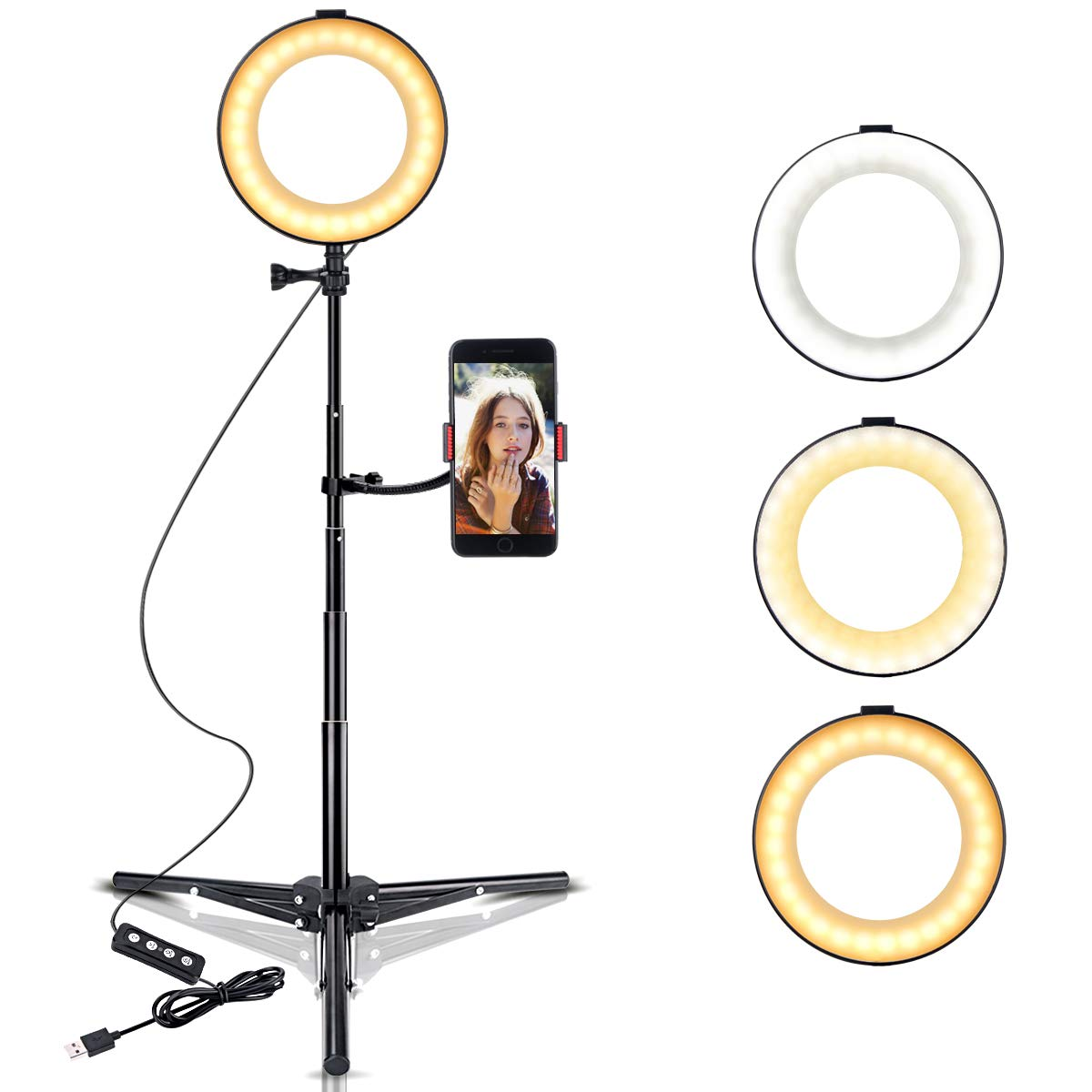 B-Land 6'' Ring Light with Tripod Stand & Cell Phone Holder for YouTube Videos, LED Selfie Light Ring Desktop Makeup Lamp with 3 Light Modes & 10 Brightness Level by B-Land